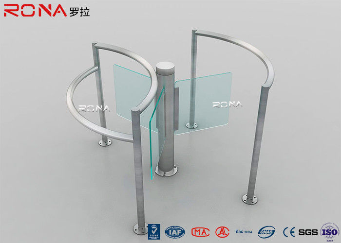 Manual Half Height Turnstiles , Pedestrian Turnstile Gate With Tempered Glass Swing