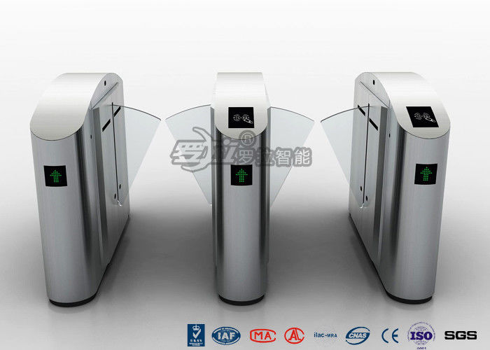 High Speed Glass Lane Flap Barrier Gate Turnstile 304 Stainless Steel For Gym / Metro