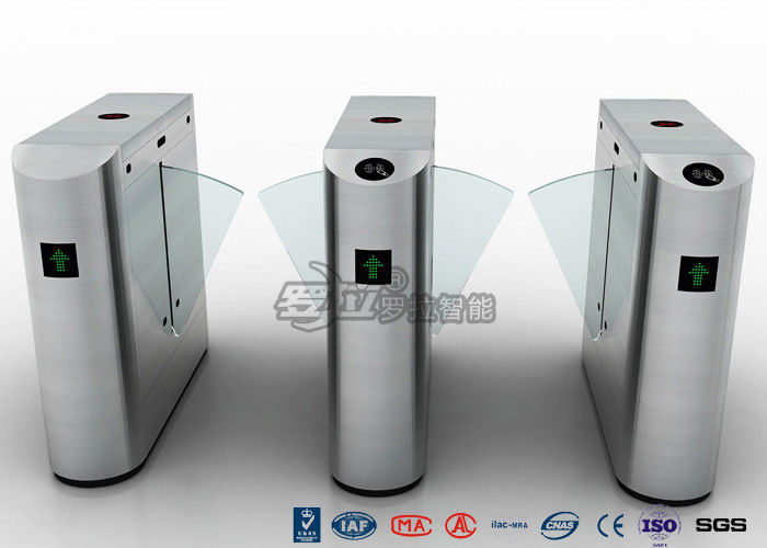 Pedestrian Control Electronic Flap Barrier Gate Acrylic Counter Turnstiles DC24V